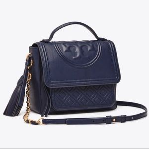 Tory Burch Fleming Quilted Satchel Navy